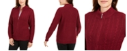 Karen Scott Cable-Knit Zippered Cardigan, Created for Macy's
