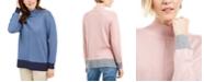 Karen Scott Erin Cotton Colorblocked Mock-Neck Sweater, Created for Macy's