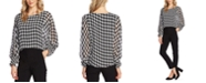 Vince Camuto Houndstooth-Print Blouson-Top