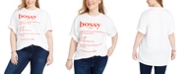 Mighty Fine Trendy Plus Size Cotton Bossy Graphic-Print T-Shirt