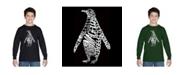 LA Pop Art Boy's Word Art Long Sleeve T-Shirt - Penguin