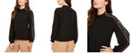 Alfani Button-Sleeve Mock-Neck Top, Created for Macy's
