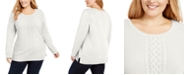 Karen Scott Plus Size Cable-Knit Trimmed Sweater, Created For Macy's
