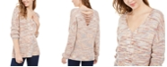 American Rag Juniors' Lace-Up Mixed-Knit Sweater, Created For Macy's