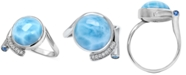 Marahlago Larimar (12mm) & Multi-Gemstone (5/8 ct. t.w.) Statement Ring in Sterling Silver