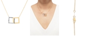 """Macy's Two-Tone Interlocking Squares 17"""" Pendant Necklace in 14k Gold & White Gold"""