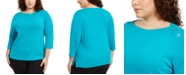 Karen Scott Plus Size Grommet-Trim Envelope-Neck Top, Created For Macy's