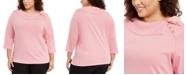 Karen Scott Plus Size Cotton Split-Collar Knit, Created For Macy's