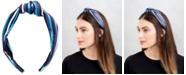 twelveNYC Blue Stripe Top Knot Hard Headband