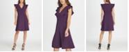 DKNY V-Neck Ruffle Cap Sleeve Fit  Flare Dress