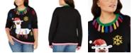Planet Gold Derek Heart Trendy Plus Size Tassel-Trim Llama Sweater