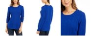 Charter Club Petite Cable-Knit Button-Trim Sweater, Created For Macy's