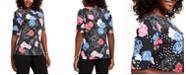 Karen Scott Petite Printed Elbow-Sleeve T-Shirt, Created For Macy's