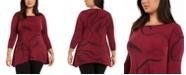 Alfani Plus Size Printed Handkerchief-Hem Top, Created for Macy's