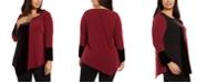 Alfani Plus Size Colorblocked Asymmetrical Tunic, Created For Macy's