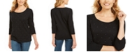 Karen Scott Studded 3/4-Sleeve Top, Created For Macy's