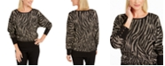 JM Collection Jacquard Zebra-Print Sweater, Created For Macy's