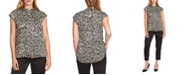 Vince Camuto Printed Mock-Neck Top