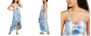 Raviya Tie-Dye Crochet-Trim High-Low Cover-Up Dress
