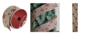 """Northlight Pack of 12 Red Snowflake and Beige Burlap Wired Christmas Craft Ribbon Spools - 2.5"""" x 120 Yards Total"""