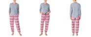 Cuddl Duds Printed Fleece Shirt & Jogger Pants Pajamas Set