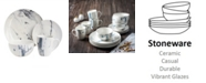Jay Imports Marble White/Blue 16 Pc Dinnerware Set