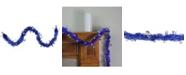 Northlight 50' Lavish Blue Christmas Tinsel Garland with Silver Snowflakes - Unlit