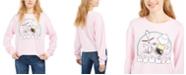 Peanuts Juniors' Boogie Cropped Graphic Sweatshirt