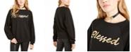 Pretty Rebellious Juniors' Metallic Blessed Graphic Sweatshirt