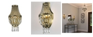 Worldwide Lighting Metropolitan 1-Light Antique Bronze Finish and Clear Crystal Basket Wall Sconce Light