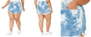 Celebrity Pink Juniors' Plus Size Tie-Dye Frayed-Hem Shorts