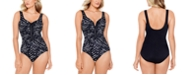 Reebok Drop Everything Printed Zipper One-Piece Swimsuit