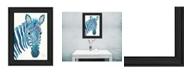 "Trendy Decor 4U Blue Zebra by Lisa Morales, Ready to hang Framed Print, Black Frame, 15"" x 19"""