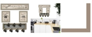 """Trendy Decor 4U Kitchen Collection VI 4-Piece Vignette with 7-Peg Mug Rack by Millwork Engineering, Taupe Frame, 32"""" x 10"""""""
