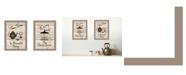 "Trendy Decor 4U Enjoy Tea Time 2-Piece Vignette by Millwork Engineering, Taupe Frame, 14"" x 10"""