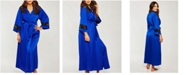 iCollection Plus Size Tess Satin Long Robe With Black Lace Trim, Online Only
