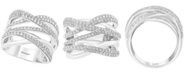 EFFY Collection EFFY® Diamond Overlap Multi-Row Statement Ring (1 ct. t.w.) in 14k White Gold