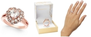Charter Club Rose Gold-Tone Crystal Heart Halo Ring, Created for Macy's