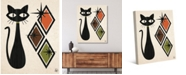 """Creative Gallery Retro Cat with Diamonds in Tawny, Olive Brown 20"""" x 16"""" Canvas Wall Art Print"""