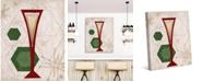"Creative Gallery Retro Bubbly Champagne on Tan 36"" x 24"" Canvas Wall Art Print"