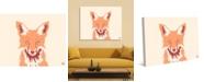 "Creative Gallery Woodland Fox Face in Orange on Tan 36"" x 24"" Canvas Wall Art Print"