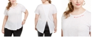 Ideology Plus Size Love Split-Back T-Shirt, Created For Macy's