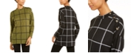NY Collection Windowpane-Print Button-Trim Top