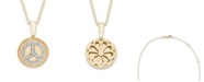 Macy's Diamond (1/10 ct. t.w.) Peace Sign Pendant in 14k Yellow or Rose Gold
