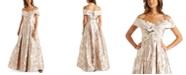 Nightway Floral-Brocade Cold-Shoulder Ball Gown