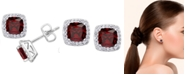 Macy's Simulated Birthstone Cushion Cubic Zirconia Halo Solitaire Stud Earrings in Fine Silver Plate