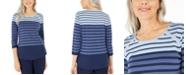 Karen Scott Colorblocked Striped Rivet-Trimmed Top, Created For Macy's