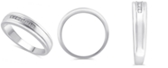Macy's Men's Certified Diamond (1/8 ct. t.w.) Ring in 14K White Gold