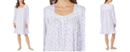 Eileen West Cotton Jersey-Knit Floral-Print Venise Lace Nightgown