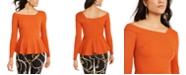 Thalia Sodi Asymmetrical Peplum-Hem Top, Created For Macy's